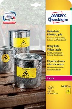 Avery étiquettes résistantes à l'humidité ft 99,1 mm x 42,3 mm (l x h), 240 pièces, 12 par feuille
