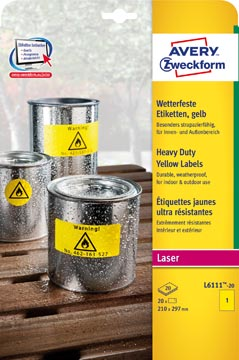 Avery étiquettes résistantes à l'humidité ft 210 x 297 mm (l x h), 20 pièces, 1 par feuille