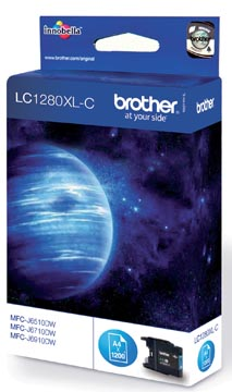 Brother cartouche d'encre, 1.200 pages, OEM LC-1280XLC, cyan