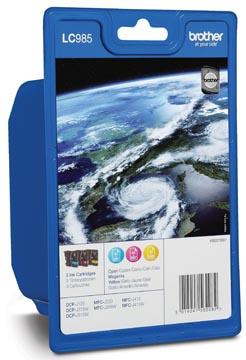 Brother inktcartridge 3 kleuren, 260 pagina's, OEM LC-985RBWBP