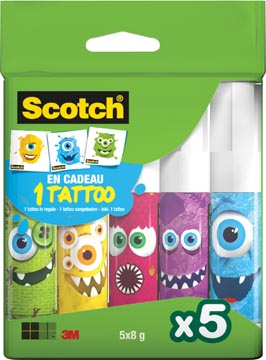 Scotch lijmstift permanent Monster, 8 g, blister met 5 stuks