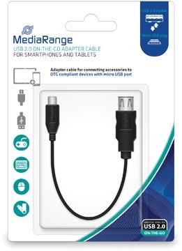 USB 2.0 On-The-Go (OTG) Adapterkabel, USB A-contrastekker/MicroUSB2.0 B-stekker