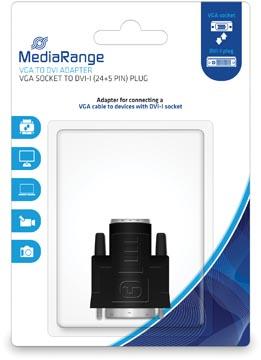VGA naar DVI Adapter, vergulde contacten, VGA-contrastekker/DVI-I-stekker (24+5-polig)