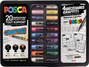 Posca paintmarker, metalen doos van 20 stuks, in geassorteerde kleuren, ontwerp ABC