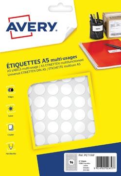 Avery PET15W etiquettes pastilles rondes, diamètre 15 mm, blister de 1536 pièces, blanc