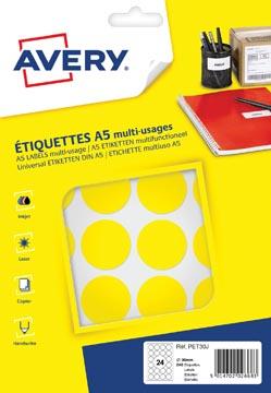 Avery PET30J etiquettes pastilles rondes, diamètre 30 mm, blister de 240 pièces, jaune