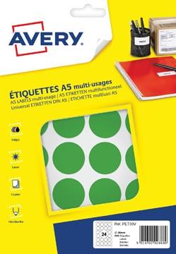 Avery PET30V etiquettes pastilles rondes, diamètre 30 mm, blister de 240 pièces, vert