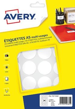 Avery PET30W ronde markeringsetiketten, diameter 30 mm, blister van 384 stuks, wit
