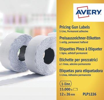 Avery PLP1226 étiquettes pour étiqueteuse permanent, ft 12 x 26 mm, 15 000 étiquettes, blanc