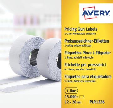 Avery PLR1226 étiquettes pour étiqueteuse enlevable, ft 12 x 26 mm, 15 000 étiquettes, blanc