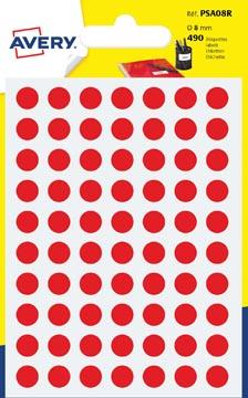 Avery PSA08R etiquettes pastilles rondes, diamètre 8 mm, blister de 490 pièces, rouge