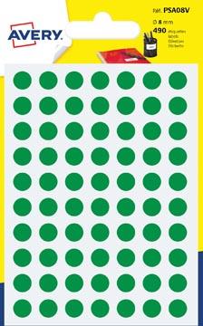 Avery PSA08V etiquettes pastilles rondes, diamètre 8 mm, blister de 490 pièces, vert
