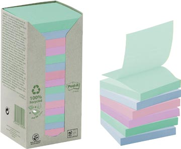 Post-it Z-notes récyclé, ft 76 x 76 mm, couleurs assorties, 100 feuilles, tour de 16 blocs