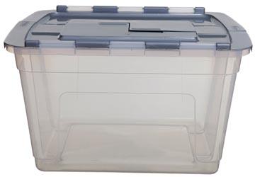 Whitefurze Tote opbergdoos 55 liter, transparant met grijze deksel