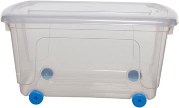 Whitefurze boîte de rangement 45 litres, transparent avec rouleaux blue