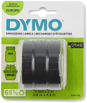 Dymo D3 ruban 9 mm, blanc sur noir, blister 3 pièces