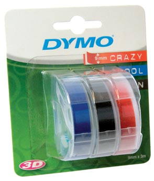 Dymo D3 ruban 9 mm, couleurs assorties, blister 3 pièces