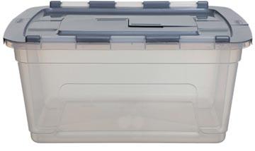 Whitefurze Tote boîte de rangement 45 litres, transparent avec couvercle gris
