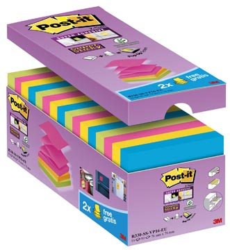 Post-it Super Sticky Z-Notes, ft 76 x 76 mm, geassorteerde kleuren, 90 vel, pak van 14 + 2 gratis