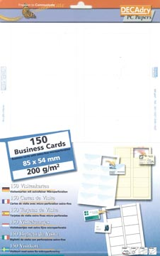 Decadry visitekaarten MicroLine ft 85 x 54 mm, 200 g/m², 150 kaartjes