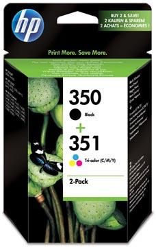 HP inktcartridge 350 en 351, 200 - 170 pagina's, OEM SD412EE#301, 1 x zwart en 1 x 3 kleuren, met beveili