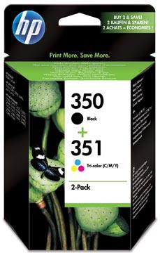 HP inktcartridge 350 en 351, 200 - 170 pagina's, OEM SD412EE, 1x zwart en 1 x 3 kleuren