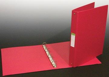 classeur pour ft A4, 4 anneaux de 25 mm, en PVC, rouge