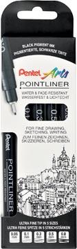Pentel fineliner Pointliner SP20, noir, étui cartonné avec 5 pièces de chaque épaisseur de pointe
