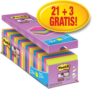 Post-it Super Sticky Notes, ft 76 x 76 mm, geassorteerde kleuren, pak van 21 + 3 gratis