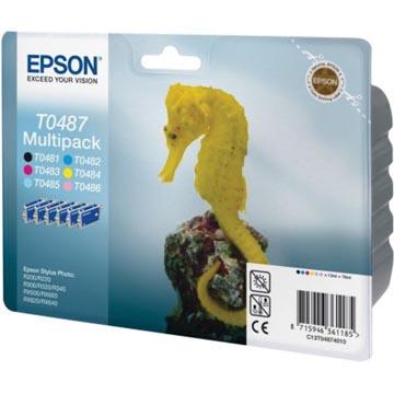 Epson inktcartridge T0487, 450 pagina's, OEM C13T04874010, 6 kleuren
