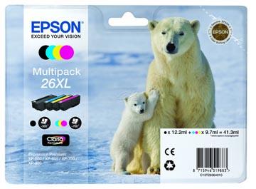 Epson inktcartridge 26XL, 24,4 ml - 13,8 ml, OEM C13T26364010, 4 kleuren