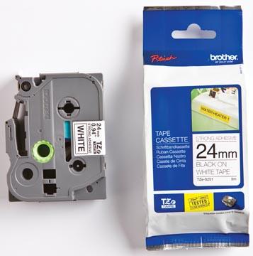 Brother TZe tape voor P-Touch 24 mm, zwart op wit, extra klevend