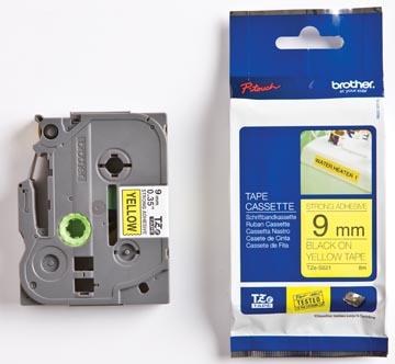 Brother TZe tape voor P-Touch 9 mm, zwart op geel, extra klevend