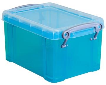 Really Useful Box opbergdoos 1,6 liter, transparant helblauw