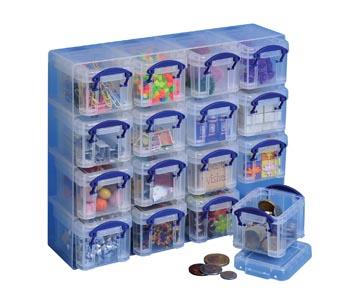 Really Useful Box cube mural, avec 16 boîtes de 0,14 l, transparent