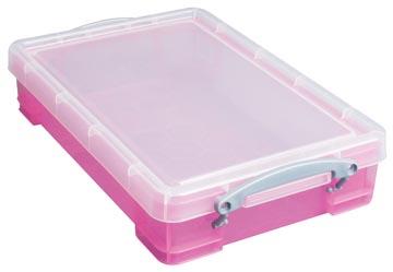 Really Useful Box opbergdoos 4 liter, transparant roze