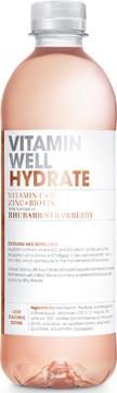 Vitamin Well vitaminewater Rhubarb & Strawberry, flesje van 0,5 L, pak van 12