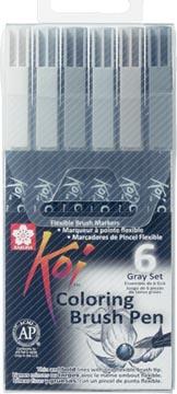 Sakura Koi feutre pinceau Coloring Brush Pen, étui de 6 pièces en nuances de gris assorties