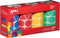 Apli Kids stickers XL, doos met 4 rollen in 4 kleuren en 4 vormen (blauw, rood, geel en groen)