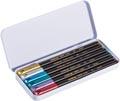 Edding feutre de coloriage e-1200, boîte métallique avec 6 feutres en couleurs métalliques assorties