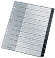 Leitz Recycle tabbladen, ft A4, 11-gaatsperforatie, PP, zwart, 1-10