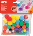 Apli pompons, couleurs assorties, sachet de 78 pièces