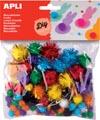 Apli pompons, zakje met 78 stuks in geassorteerde glitter kleuren