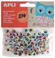 Apli zelfklevende knutselogen, rond, blister met 100 stuks in geassorteerde kleuren