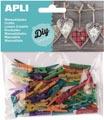 Apli houten gekleurde mini wasknijpers, blister met 45 stuks in geassorteerde kleuren