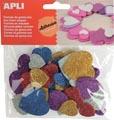 Apli Kids zelfklevende glitter harten, blister met 50 stuks