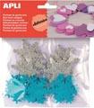 Apli Kids zelfklevende glitter sneeuwvlokken, blister met 22 stuks