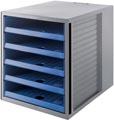 Han bloc à tiroirs Systembox Karma, avec 5 tiroirs ouverts, éco-bleu