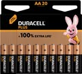 Duracell piles Plus 100%, AA, blister 20 pièces
