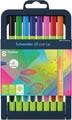 Schneider fineliner Line-Up, etui van 8 stuks in geassorteerde kleuren